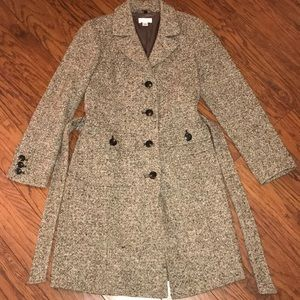Faux Fur Collared Trench Tweed Coat